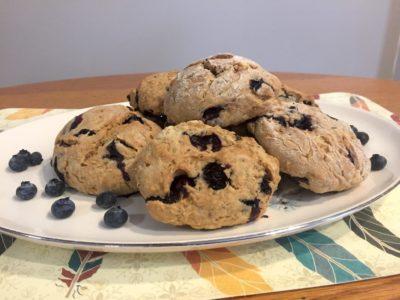 photo of vegan lemon blueberry scones