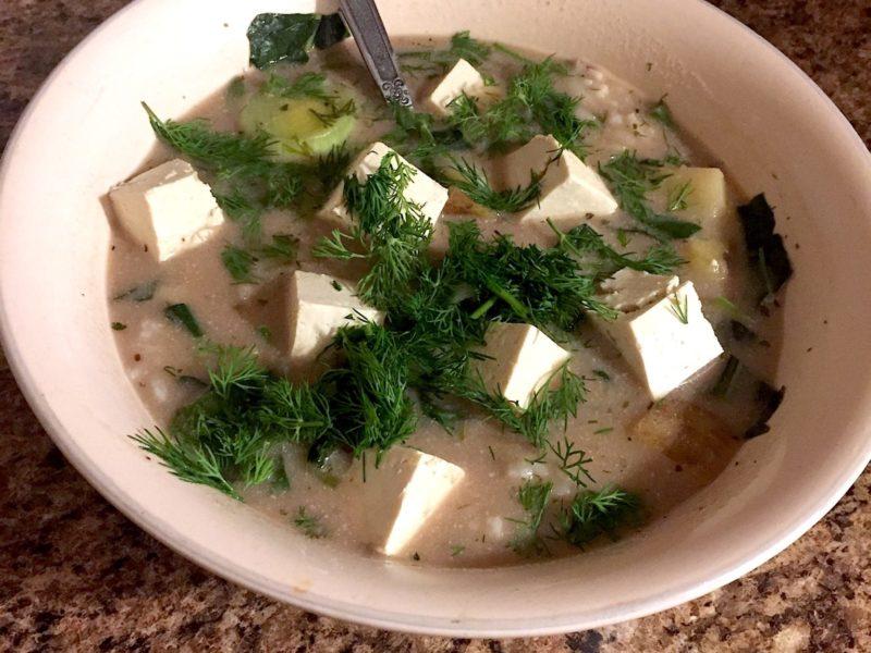 vegan potato leek soup with coconut milk and dill