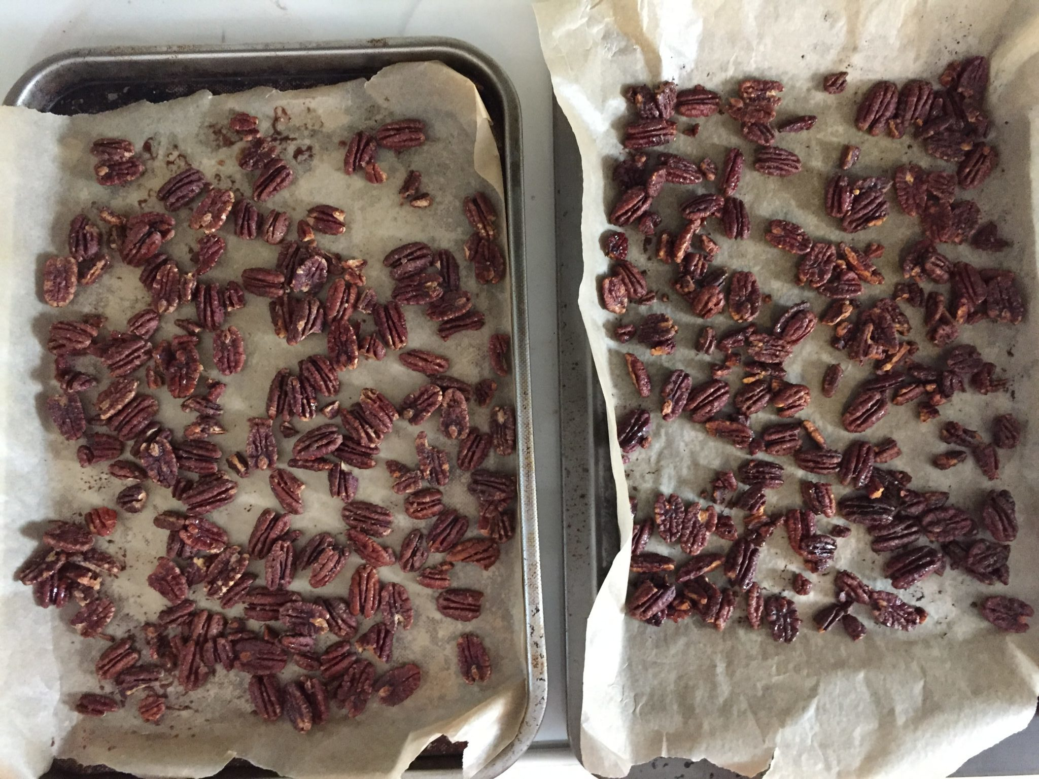 maple candied pecans, light and dark