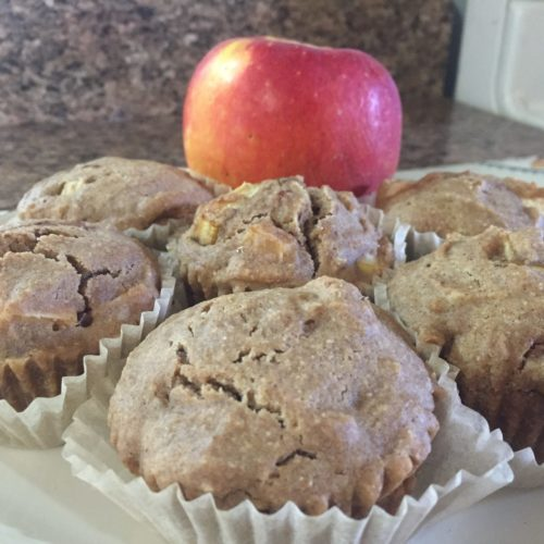 apple cinnamon corn muffins closeup