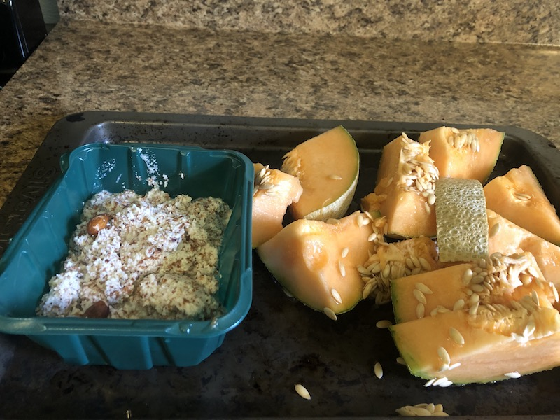 photo of almond pulp and cantaloupe on tray