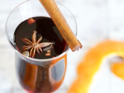 photo of mulled wine with garnish